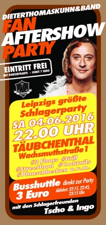 SA 04.06.16 : DIETER THOMAS KUHN&BAND - FAN AFTERSHOW PARTY